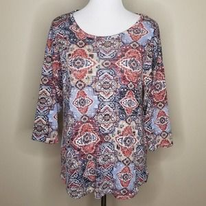 Absolutely Famous Geometric 3/4 Sleeve Knit Top